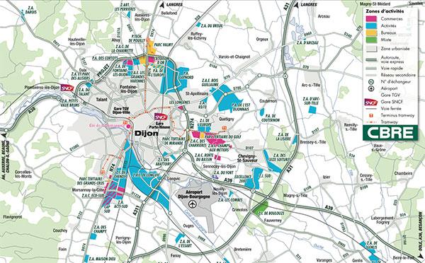 Les Zones De L'agglomération Dijonnaise